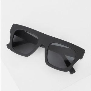 Le Specs matte black square sunglasses